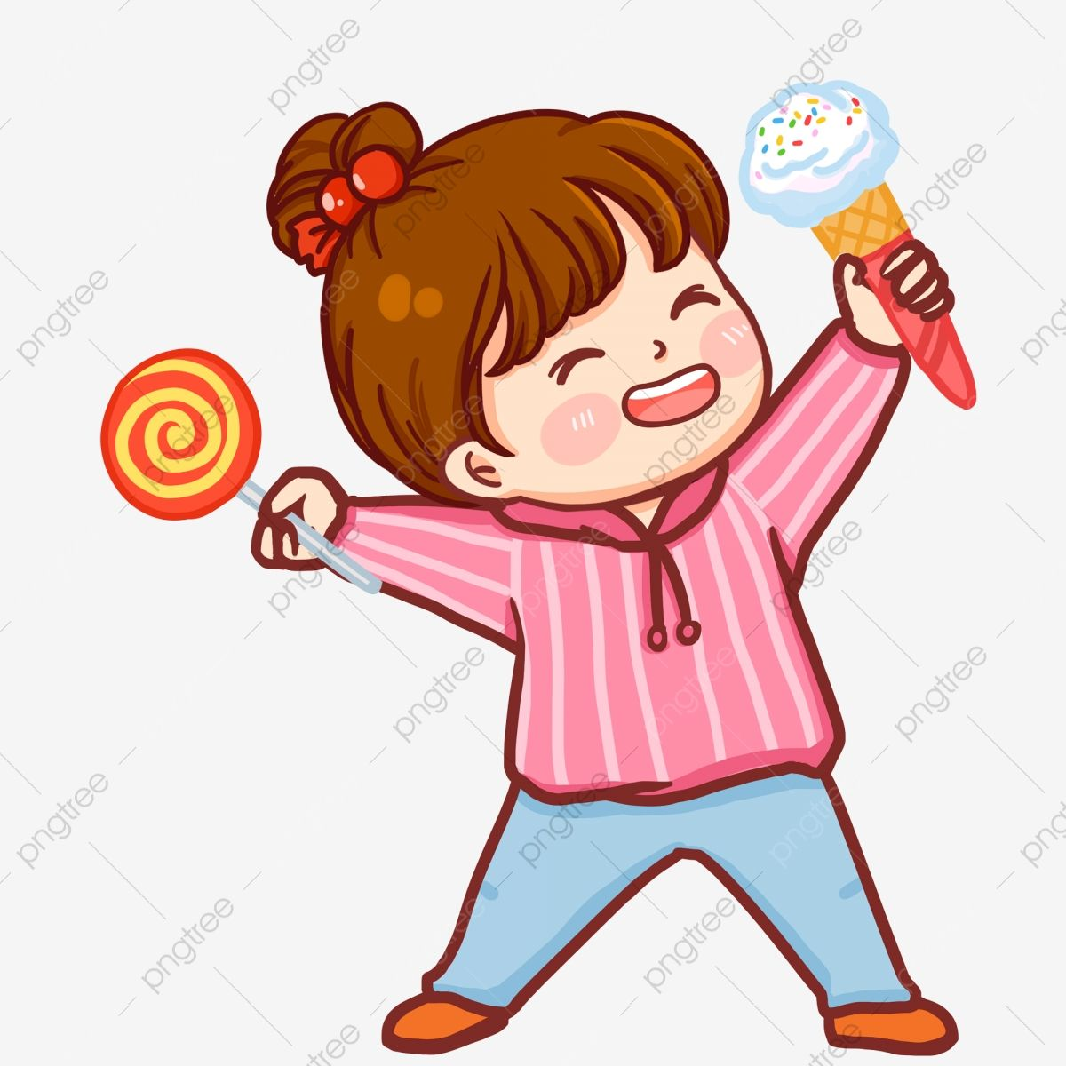Painted Cute Little Girl Eating Lollipop And Ice Cream Painted Cute Cartoon Png Transparent Clipart Image And Psd File For Free Download Cute Little Girls Little Girl Illustrations Cute Pink Background