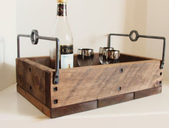 Wood Serving Tray Wine Holder Rustic Industrial Chic Rugged Forged Iron Handles Wine and Cheese Homebrew. $95.00, via Etsy.