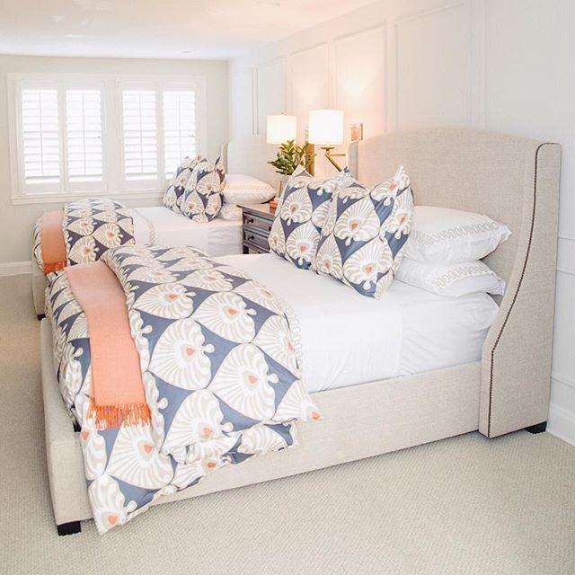Double Up On Pattern Palmetto Duvet Cover Via Serena Lily Image Via Brooke Bratcher Design Guest Bedroom Design Room Ideas Bedroom Coastal Bedrooms