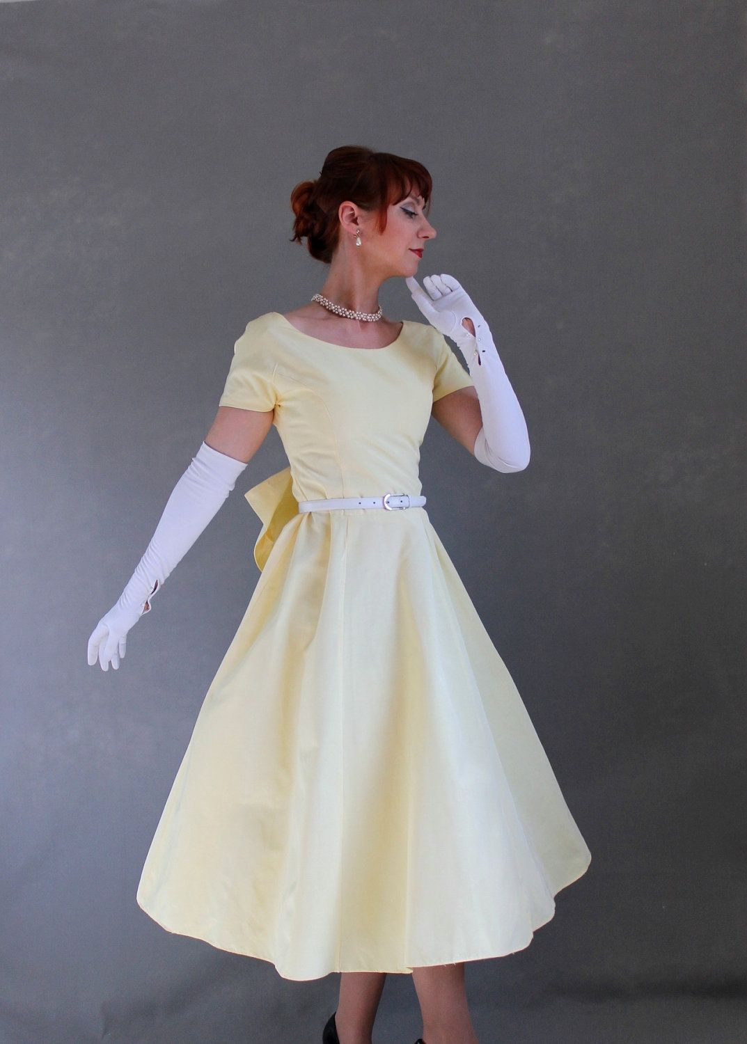 Vintage s pastel yellow party dress mad men fashion weddings