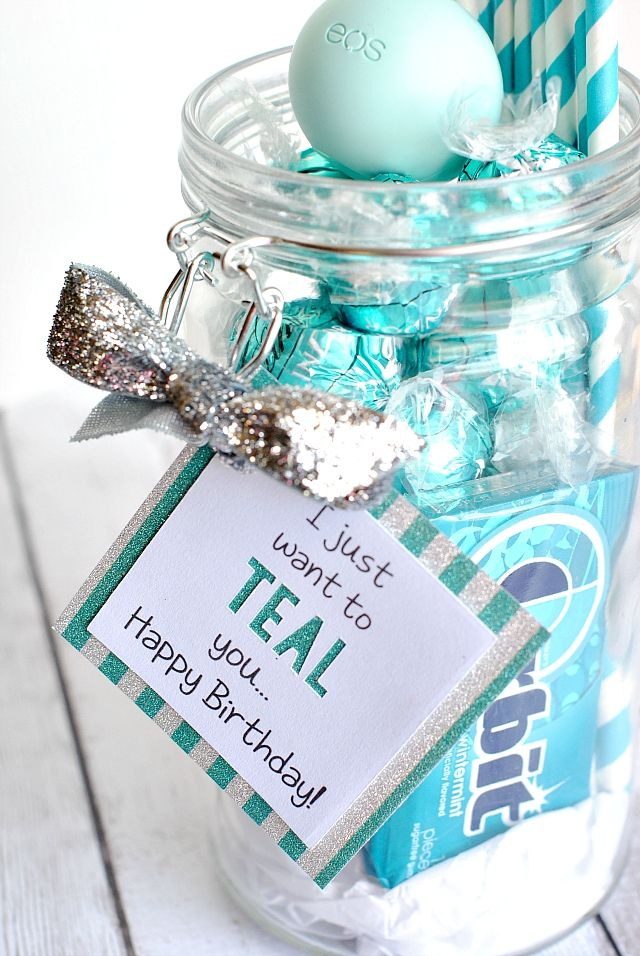 Teal Birthday Gift Made With Cricut Explore By Amber Fro Crazy Little Projects DIY Blog Best Friend Sister Idea Thank You