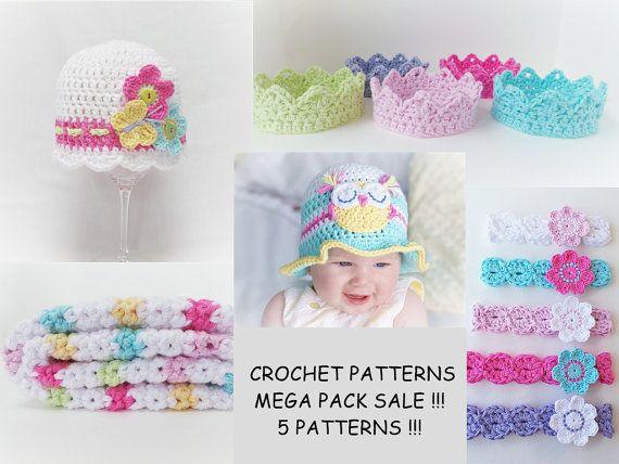 CROCHET PATTERN Value Pack Baby Crochet Patterns Owl hat pattern headband pattern Crown crochet pattern Baby Blanket crochet Pattern Uk No.6 #crownscrocheted