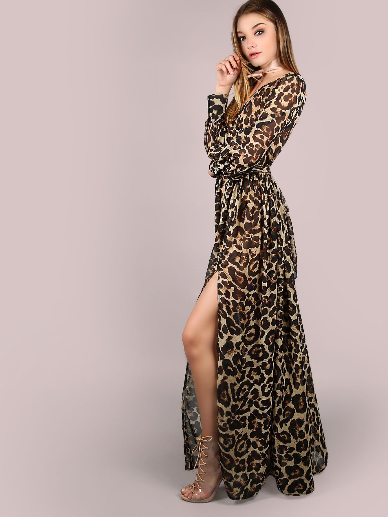 7f48c7b0e41 Brown Leopard Print Long Sleeve Chiffon Maxi Dress in 2019