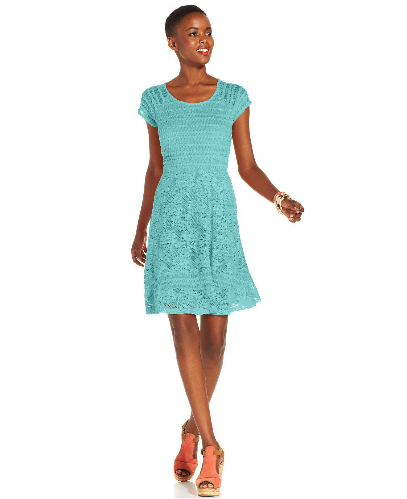 NY Collection Petite Crochet-Lace A-Line Dress - Dresses - Women ...