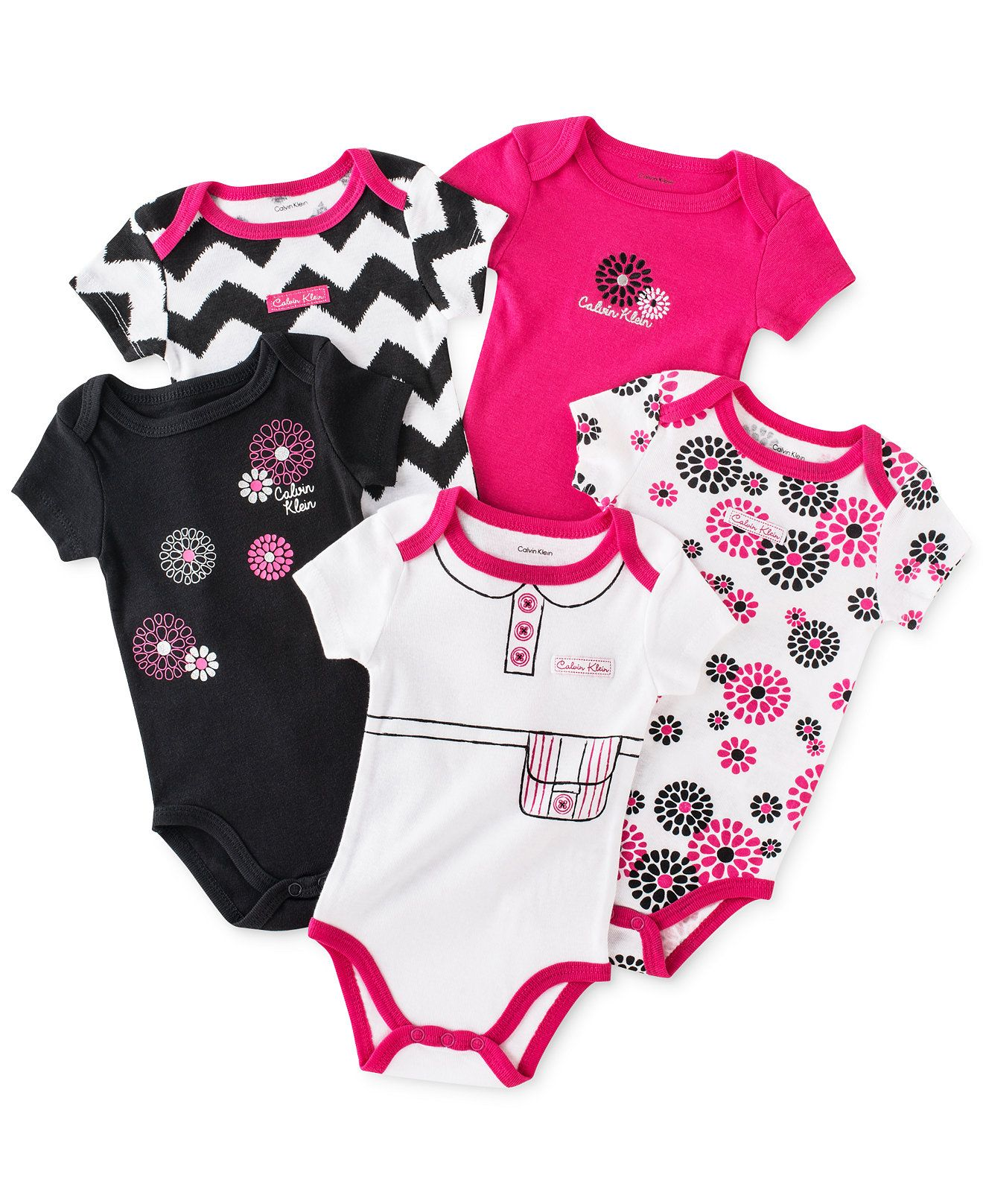 ca11b20c86 Calvin Klein Baby Girls  5-Pack Bodysuits - Kids Newborn Shop - Macy s