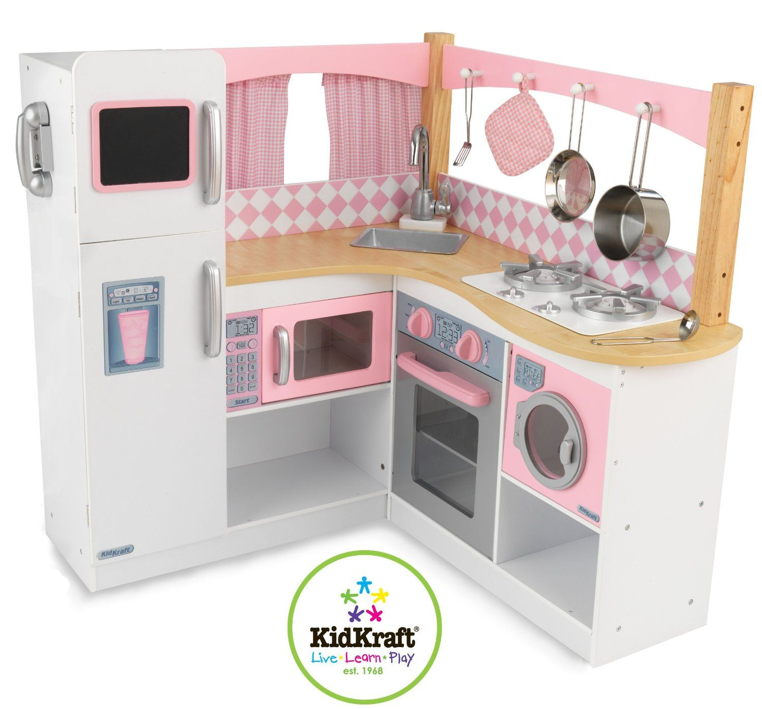 the kidkraft grand gourmet corner kitchen is an all in one kitchen