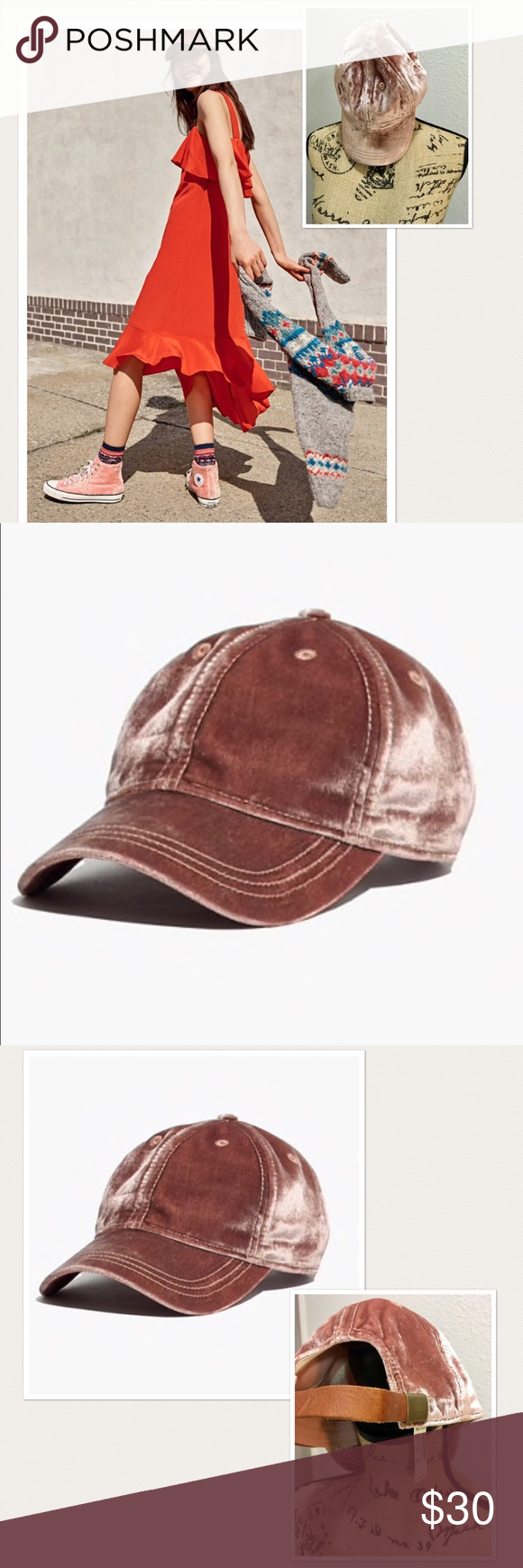97b0b60c423 🎀Madewell Velvet Baseball Cap🎀 NWT Super sweet pink mauve cap with  leather strap