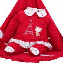 c3f35e4d30794 Saída de Maternidade Mydouu Paris Luvas e Tiara Vermelha