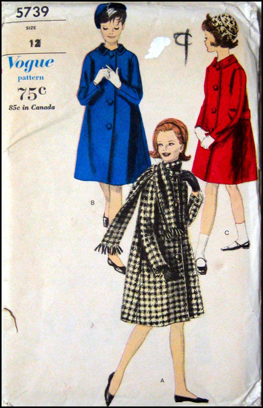 dfff70075a Vintage 1960s- Posh Girls Coat -Matching Fringe Scarf-Vogue Sewing ...