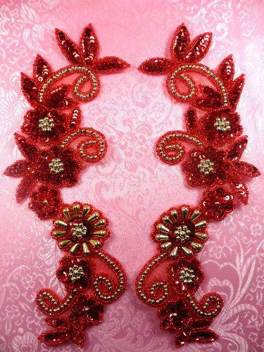 0183 Appliques Sequin Beaded Red Gold Mirror Pair  10""