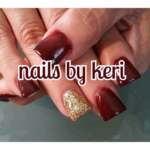 Burgundy Gold Nails Fall Nails Nails By Keri Nails Gold Nails Burgundy And Gold