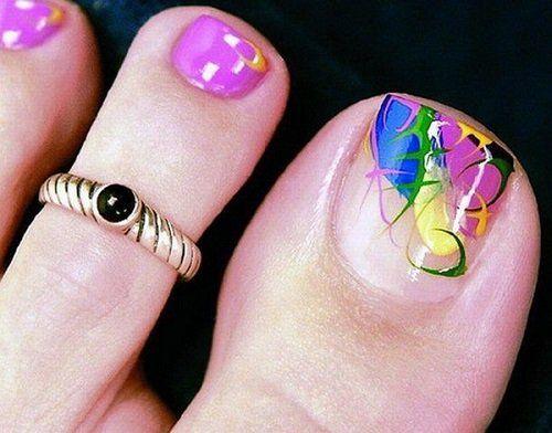 Toe nail pink nail polish design