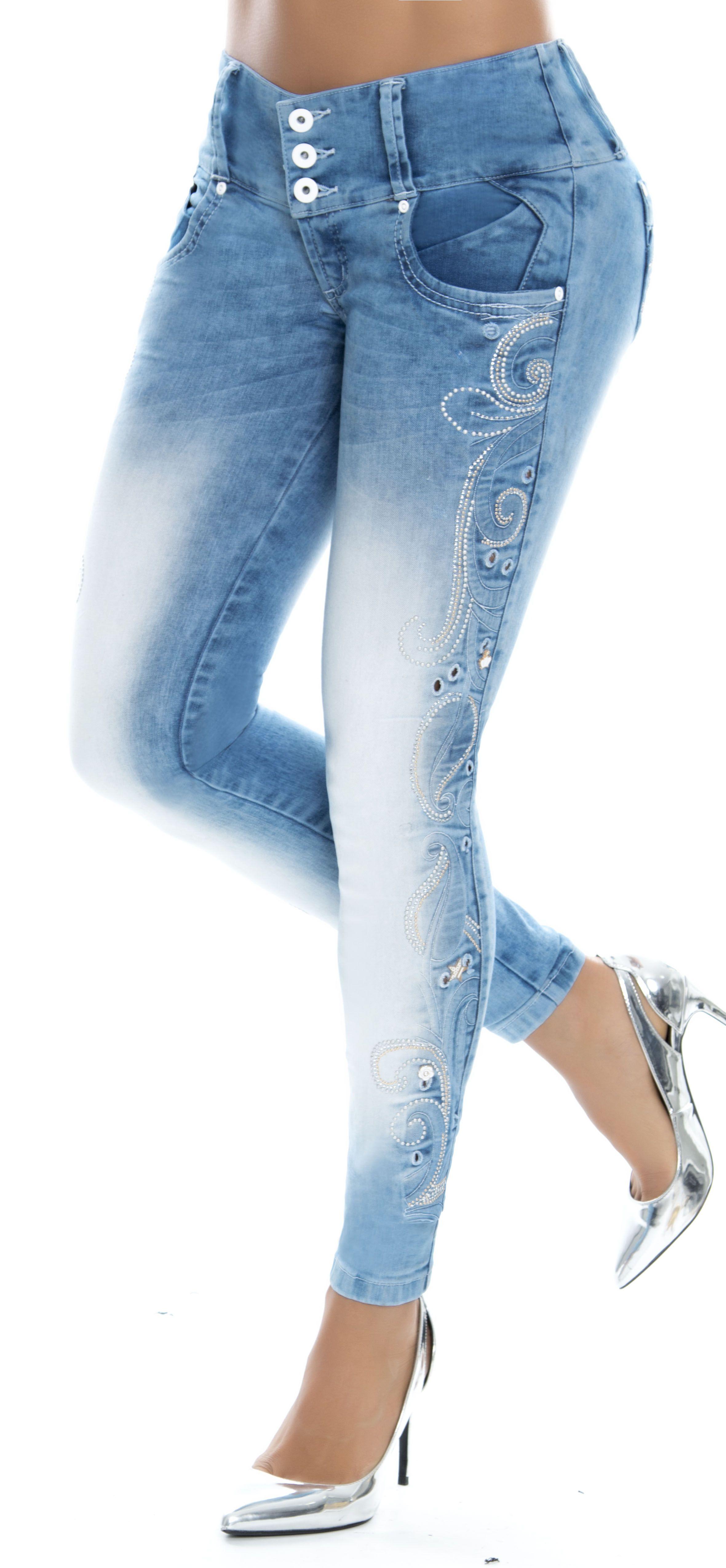 Jeans Levanta Cola De Tiro Medio Azul Claro Ref 86214 Marca Wow Silueta Ajustada Con Efecto Push U Jeans De Moda Pantalones De Moda Pantalones Vaqueros Claros