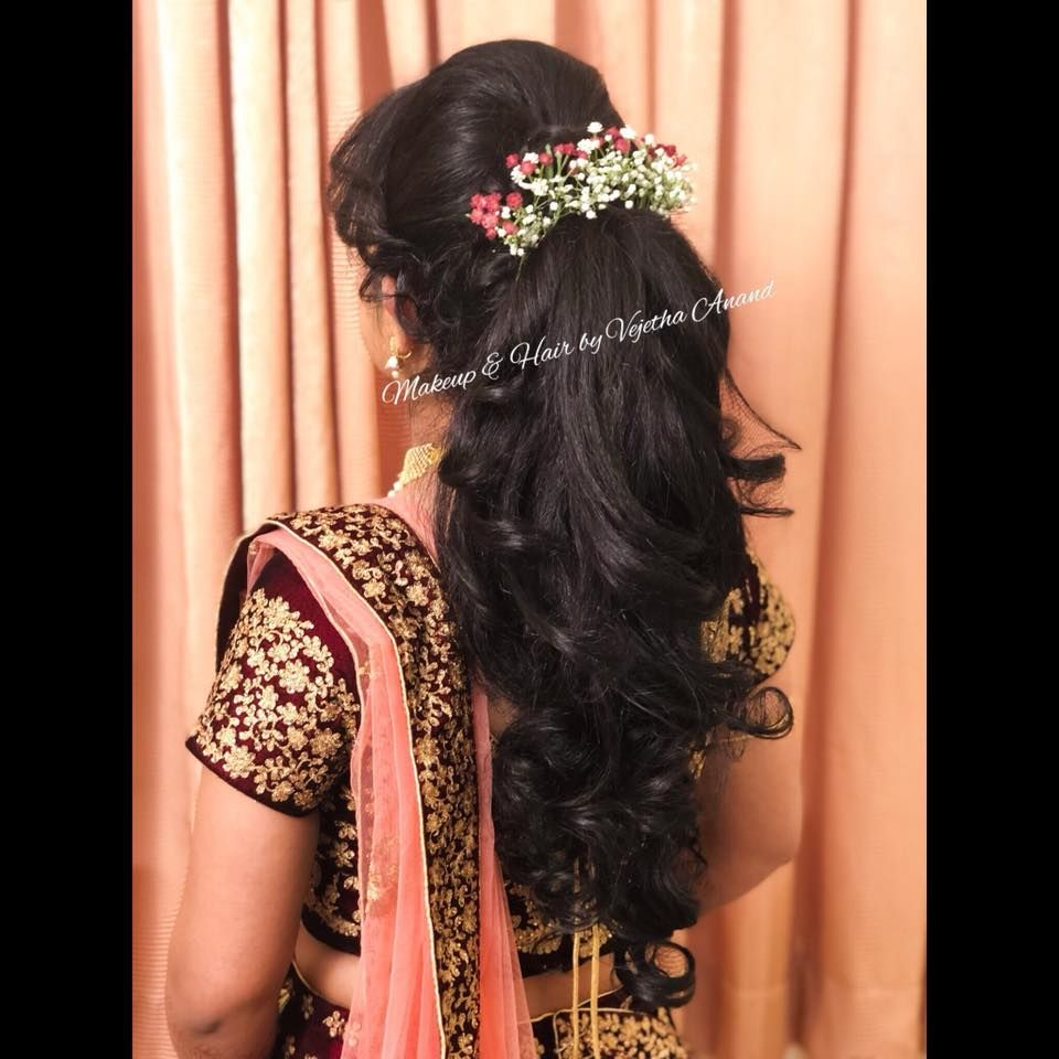Gorgeous Bridal Updo By Vejetha For Swank Bridal Hairstyle With Curls And Flowers Bridal Lehenga Wedding Reception Hairstyles Hair Styles Lehenga Hairstyles