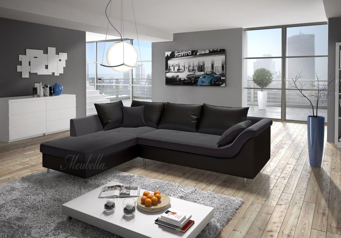 Hoekbank alvida grijs zwart links leer stof huiskamer