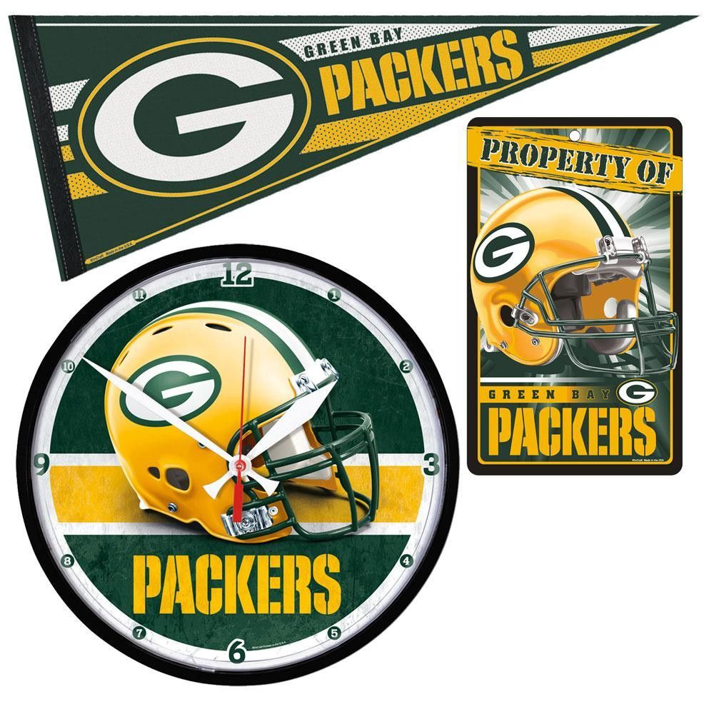 Officially Licensed Wall Clock And Pennant Great For Any Room Clock Features High Quality Quartz Movement Green Bay Packers Art Nfl Packers Green Bay Packers