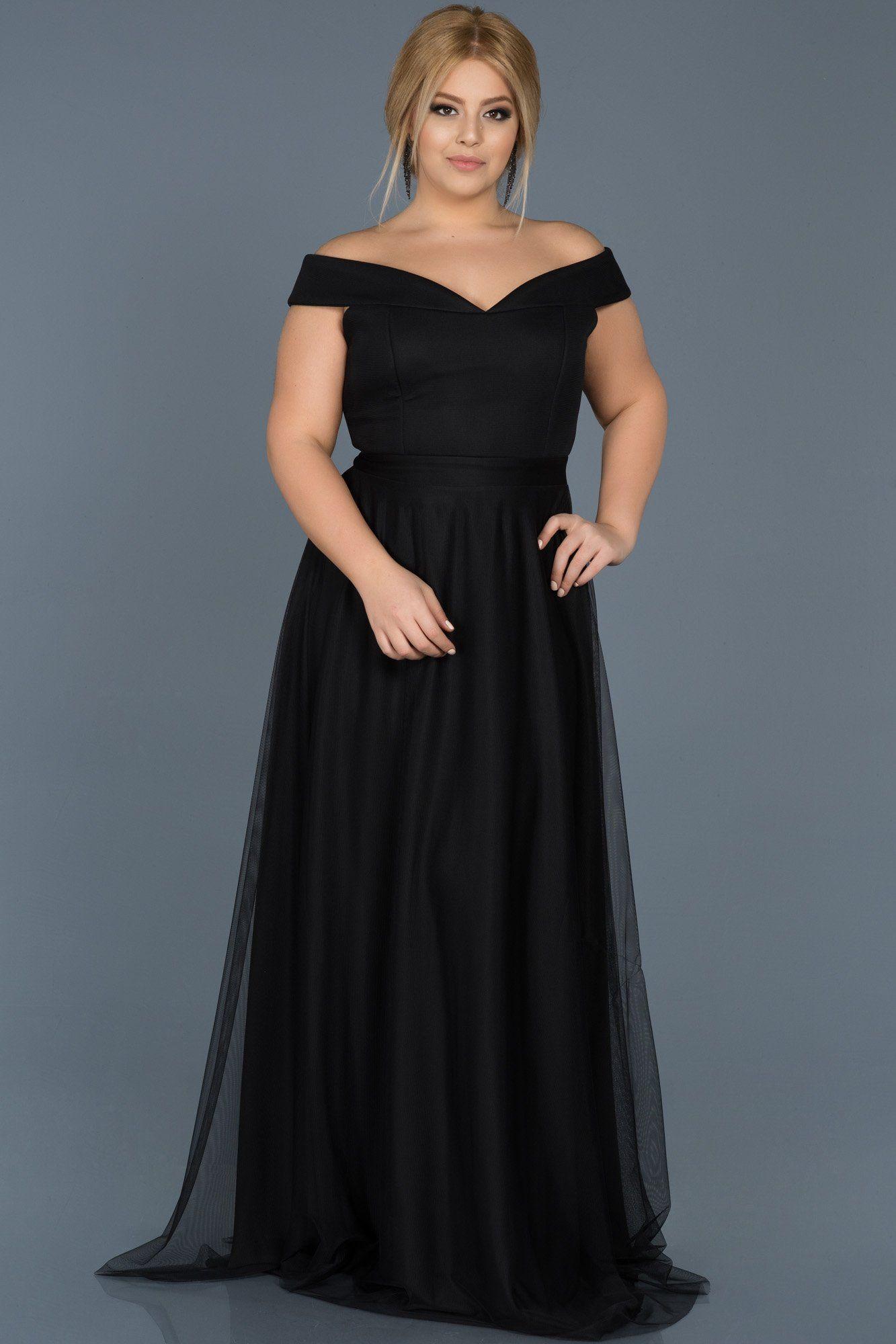 Siyah Kayik Yaka Buyuk Beden Elbise Abu020 Elbise Gelinlik Moda Stilleri