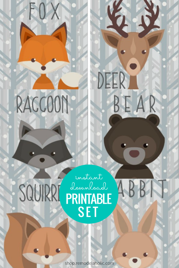 Woodland Creature Printable Wall Art In 2021 Wall Printables Printable Wall Art Baby Animal Prints