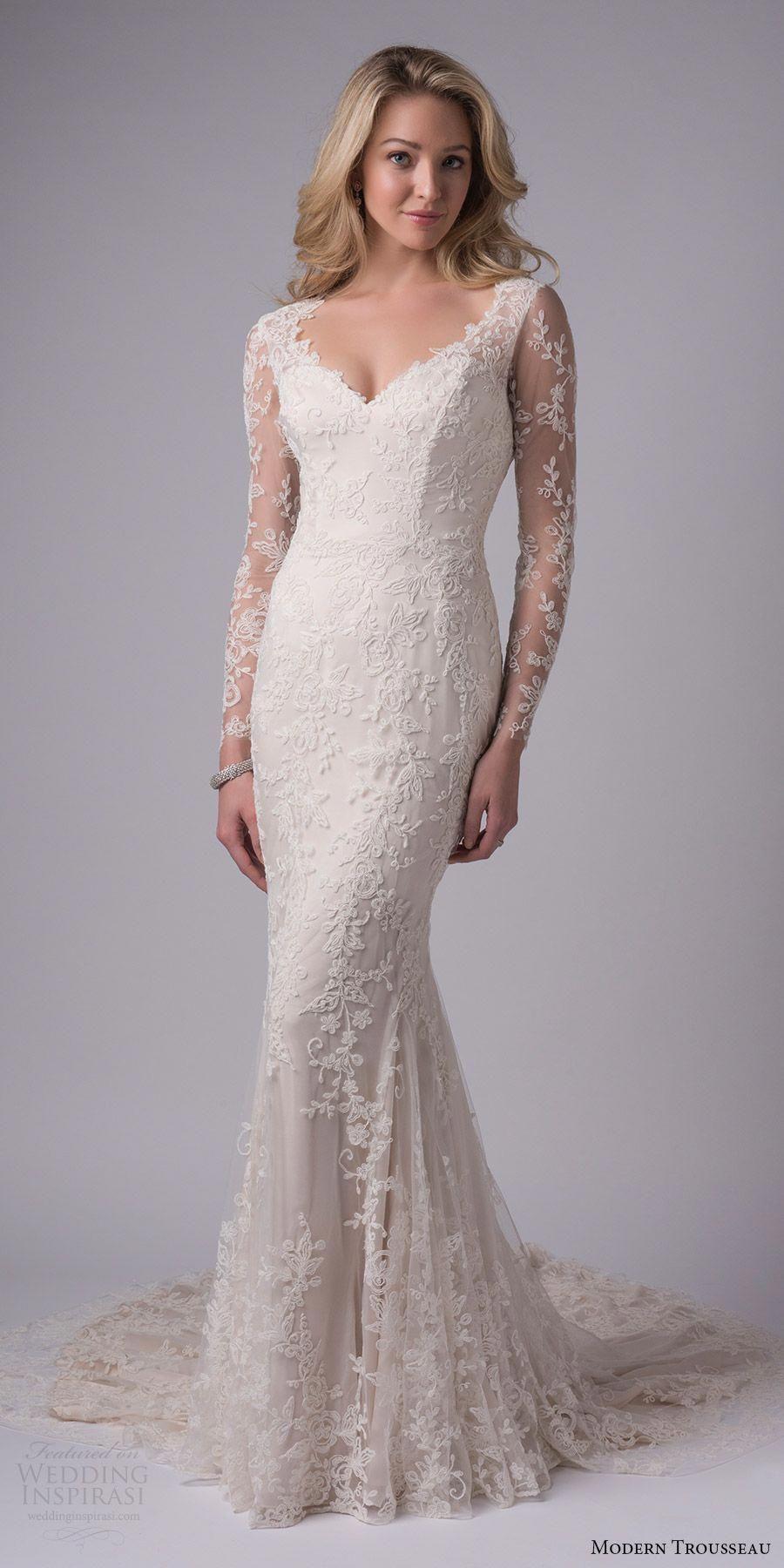 Modern Trousseau Bridal Fall 2017 Illusion Long Sleeves Lace Sheath