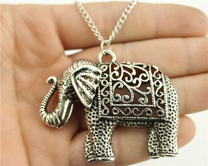 Wysiwyg moda del tono de plata antiguo 59 * 47 mm collar pendiente del elefante, 70 cm collar de cadena larga