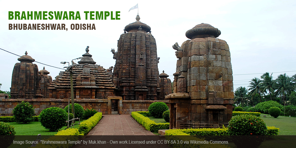 The Brahmeswara Temple in Bhubaneshwar is dedicated to Lord Shiva. Designed as a panchatanaya temple, the temple complex comprises of four subsidiary shrines in the four corners around the temple besides the central shrine dedicated to Brahmeshwar. The temple, constructed around 1058 CE, also comprises of two connecting buildings-  the smaller Jagmohana or the assembly hall and the Shikhara or the towering sanctuary. #TempleTrivia