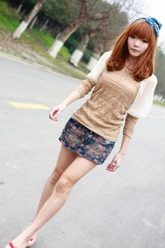 Rose Printed Above-knees Denim Skirt on BuyTrends.com, only price $9.69