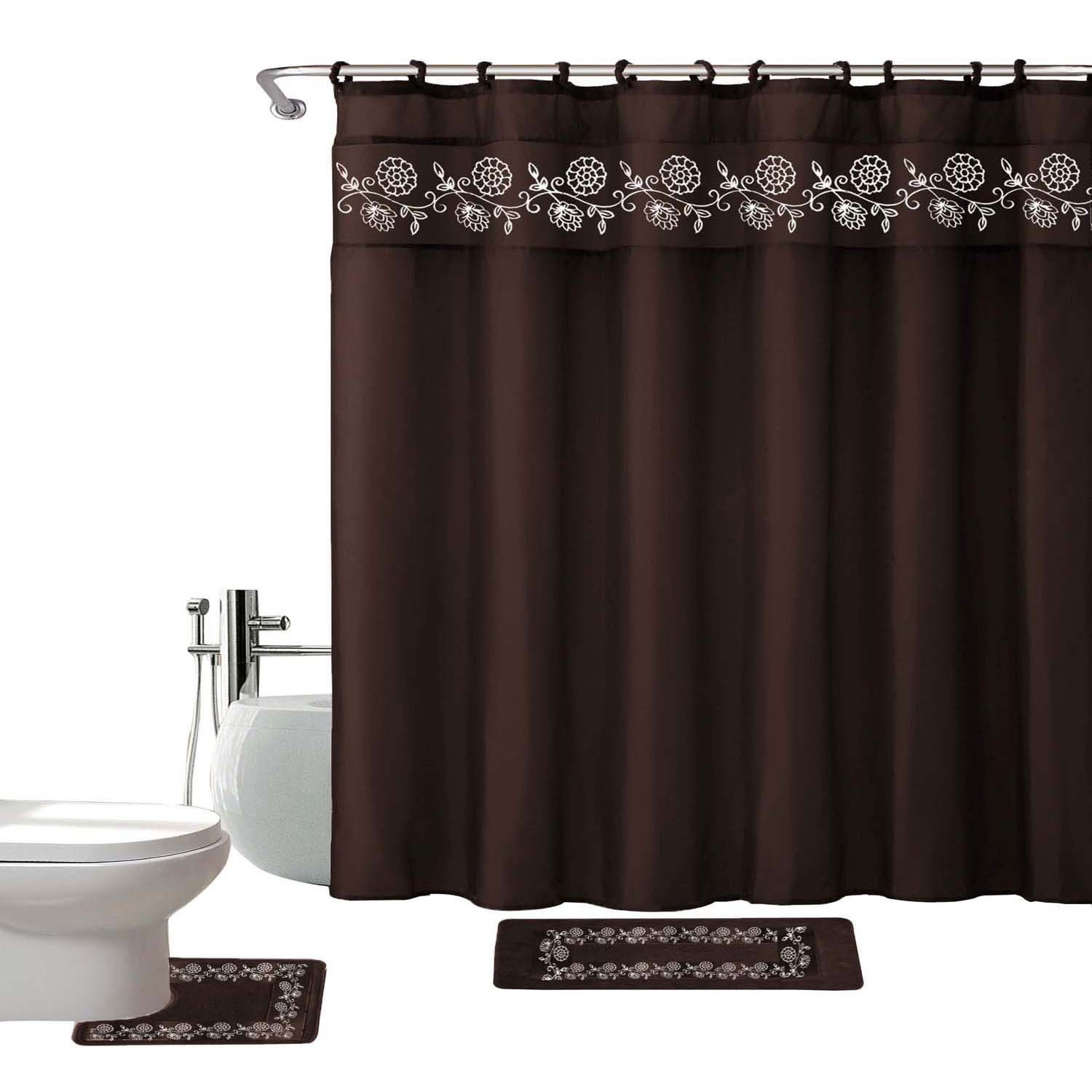 Kashi home leaves piece shower curtain set chocolate products