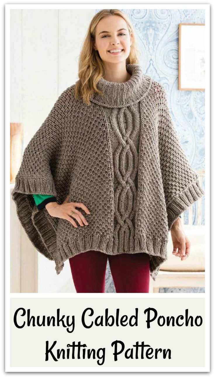 Create this fabulous chunky cabled poncho in Deramores Studio Chunky ...
