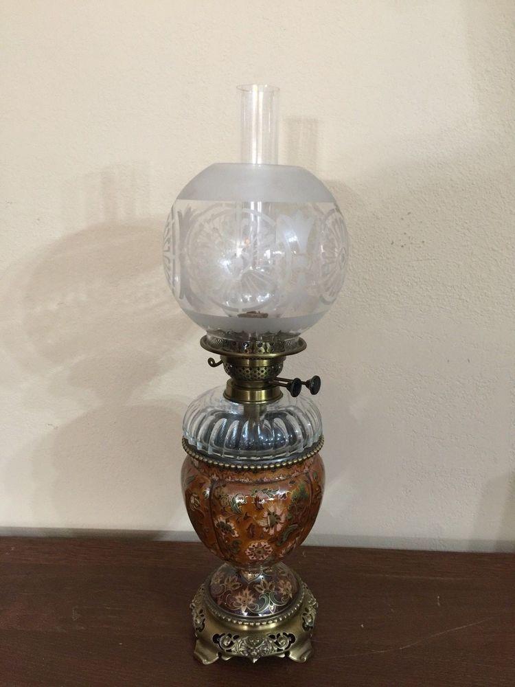 Antique Rare Hungarian Zsolnay Pecs Lamp Vase Crystal Brass Kerosene Oil Lamp Oil Lamps Lamp