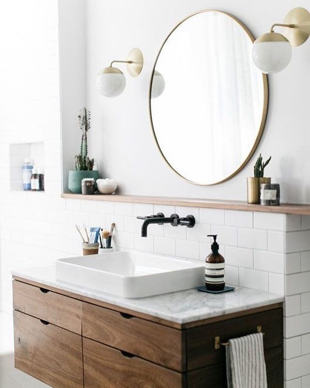 See This Instagram Photo By Pretty Little Interiors 698 Likes Modern Bathroom Vanity Modern Bathroom Round Mirror Bathroom