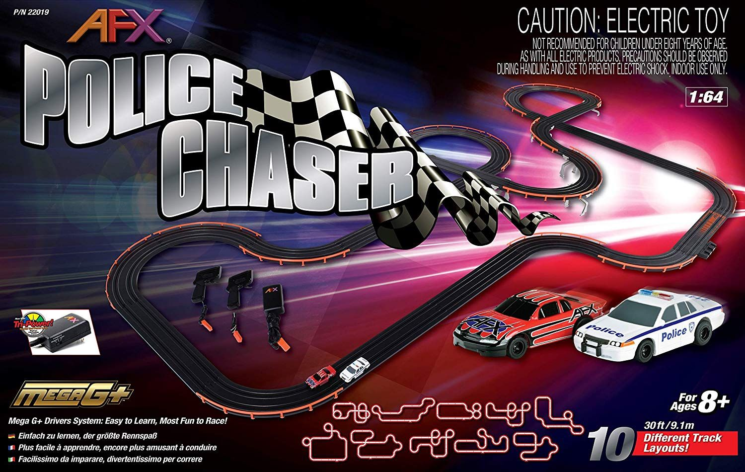 Afx Racemasters Police Chaser Set Afx 22019 Slot Car Sets Slot Cars Slot Car Tracks