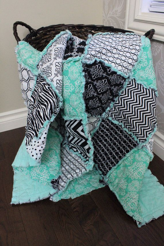 Rag Quilt Baby Rag Quilt Black And White Mint Green by RozonsRags