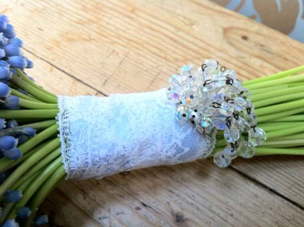 Lace and sparkle hand tied bouquet
