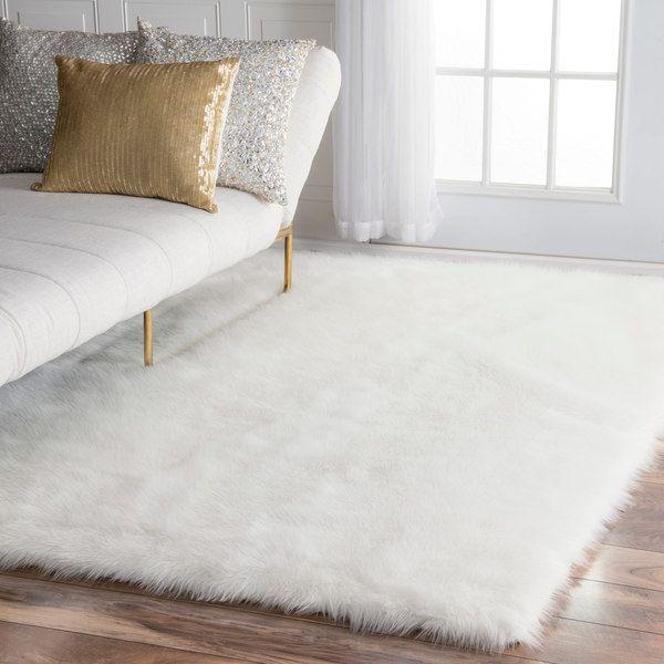 NuLOOM Faux Flokati Sheepskin Solid Soft And Plush Cloud White Shag Rug (5u0027  X
