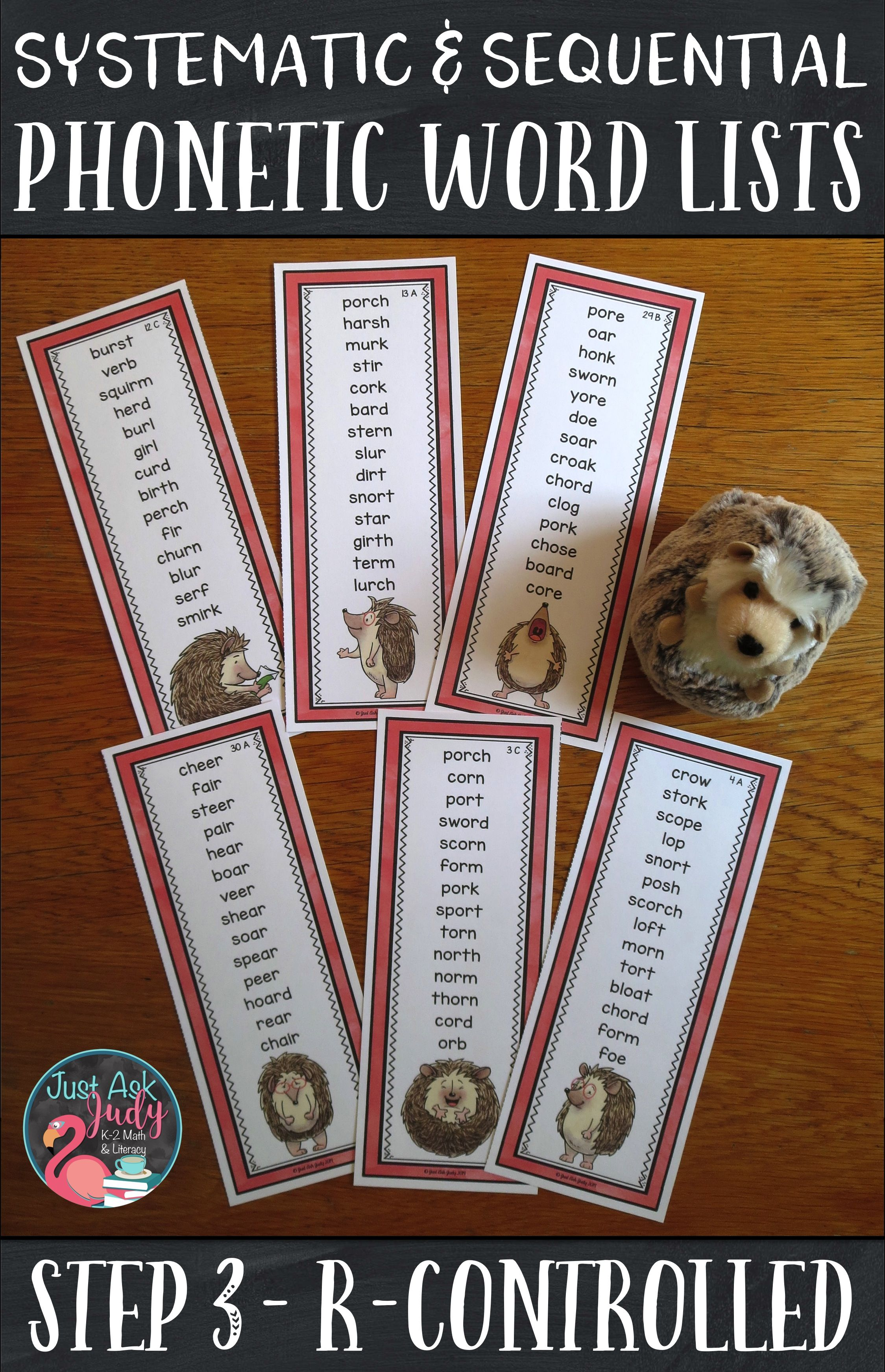 Phonics Word Lists With R Controlled Vowel Patterns
