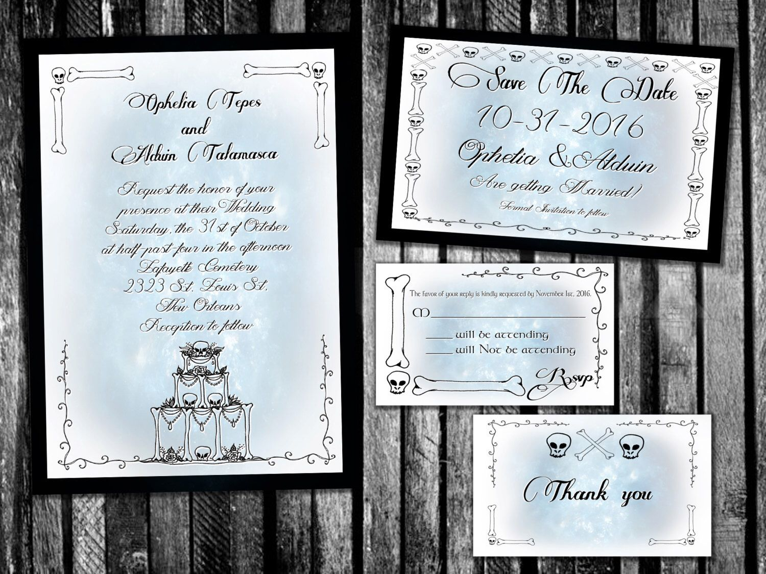 Spooky Corpse Bride Inspired Wedding Invitation, Save the Date, RSVP ...