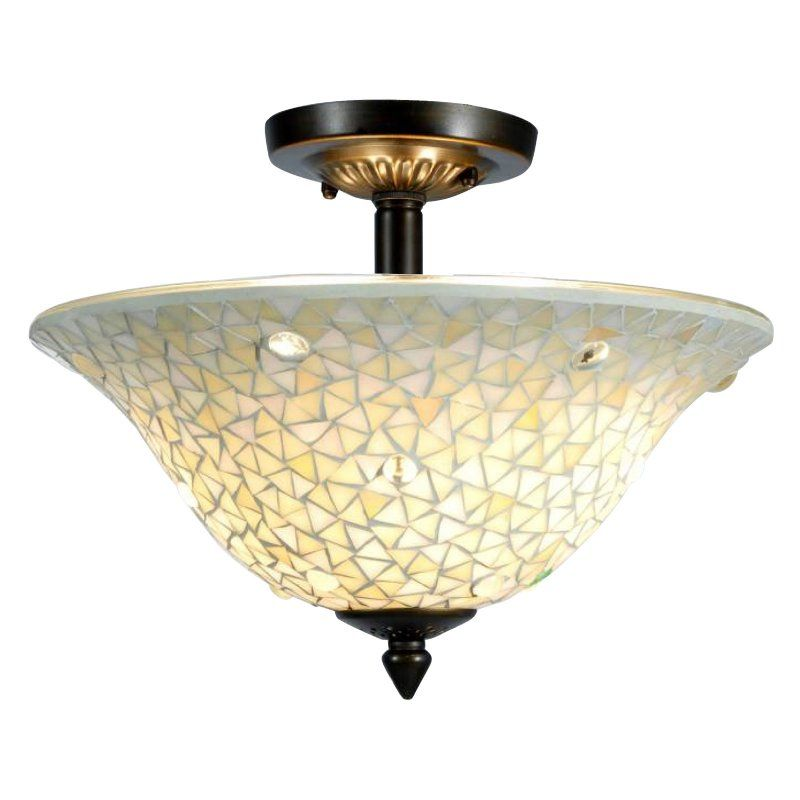 White Mosaic Semi Flush Mount Ceiling