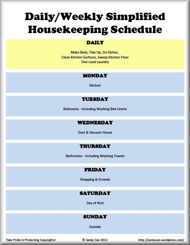 Daily  Weekly Cleaning Schedule  Smart Stuff