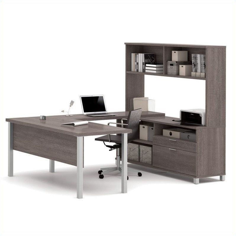 Bestar Pro-Linea U-Desk with Hutch Deep Grey /& White