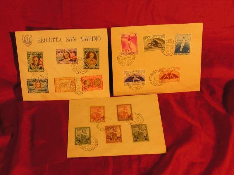Francobolli tre buste San Marino 1949/1956