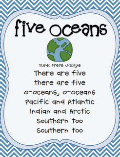 Once Upon A First Grade Adventure Freebie Oceans Song School - What are the five oceans
