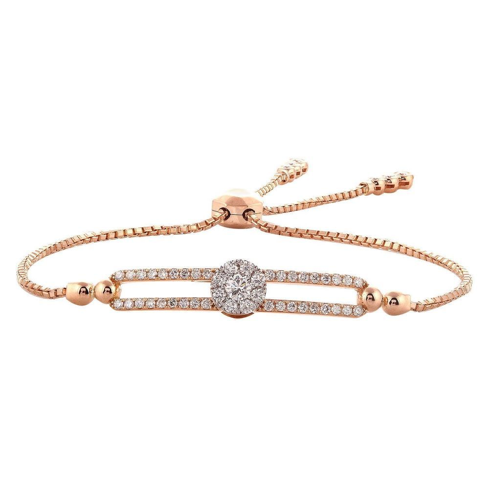 3 4 Carat Natural Diamond Bolo Adjustable Bracelet In 10k Rose Gold Chain 9 Caratsforyou Chain Engagementweddingannivers With Images Rose Gold Chain Anniversary Jewelry