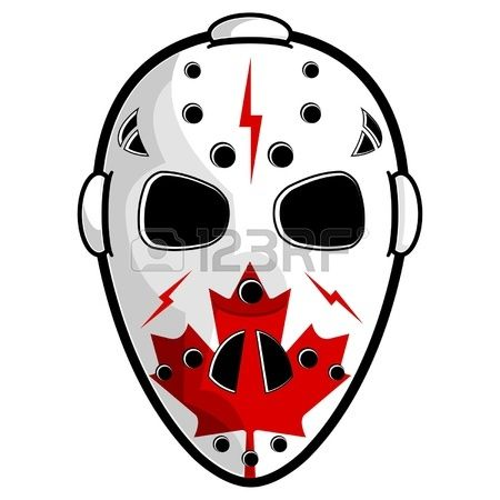 Hockey Mask With Canadian Flag Isolated Over White Canadian Flag Hockey Mask Hockey