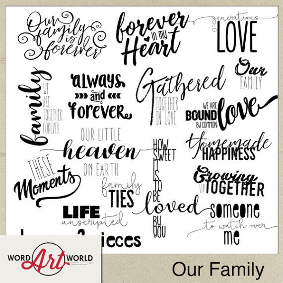 Digital And Printable Overlay Word Art Set Instant Download Our Family Photography Png Images Scrapbooking Personal Use Only Family Word Art Digital Word Art Word Art Design