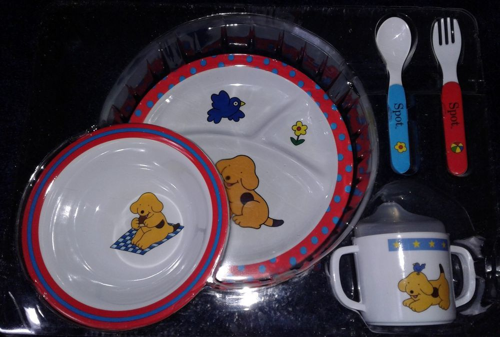 Spot The Dog Puppy Kids Dinner Set Eric Hill Book Plush Vtg 90s Toys Disney Vhs Kids Dinner Sets 90s Toys Dogs And Puppies