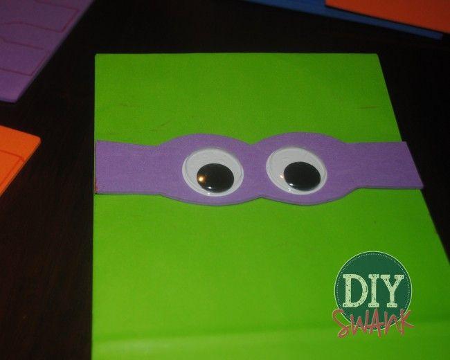 DIY Ninja Turtle Party Favor Bags