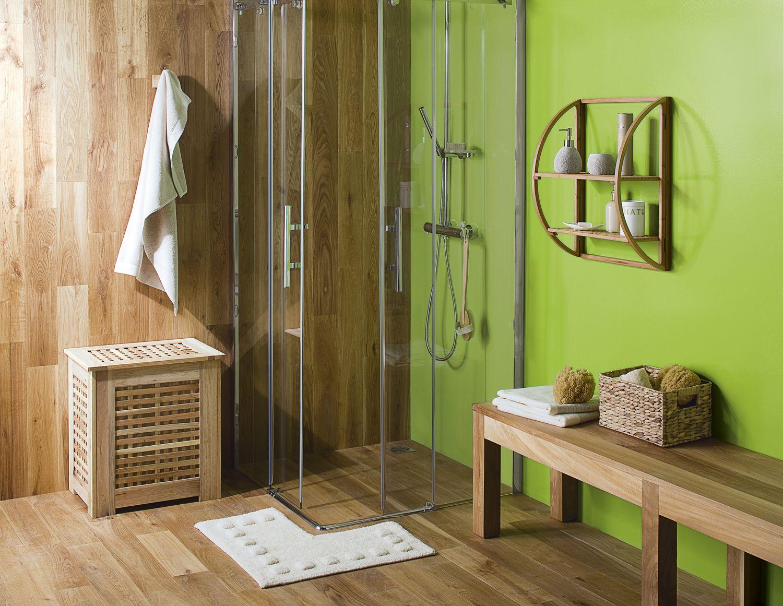Parquet et mur vert   Salle de bain zen   Pinterest