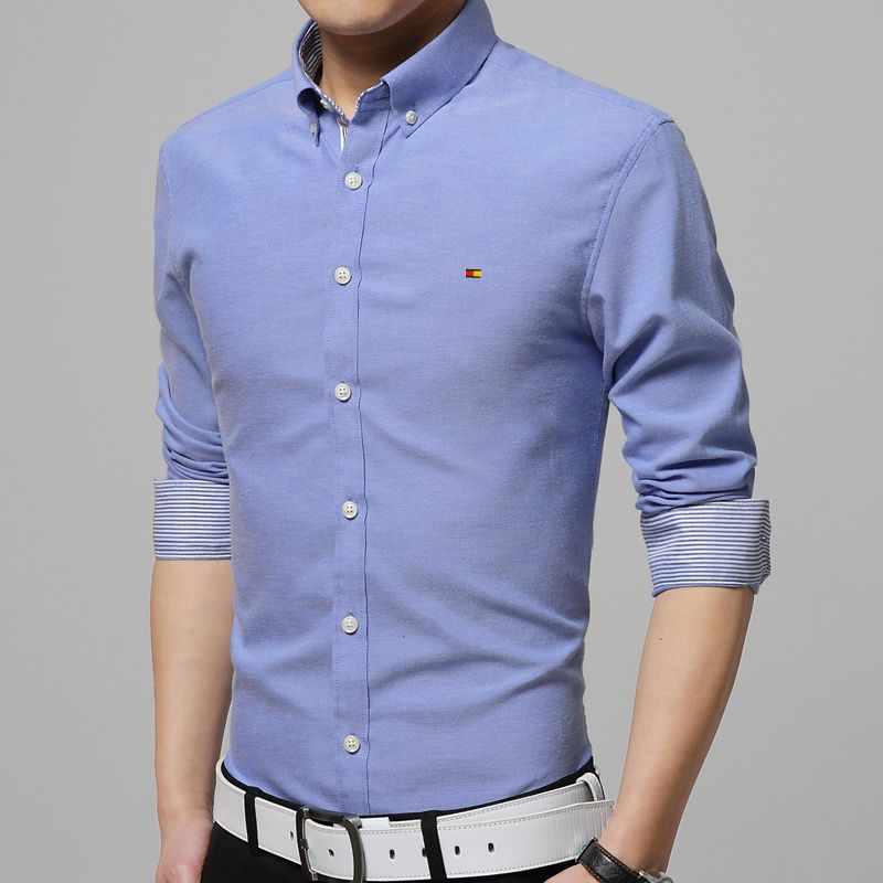 New Fashion Men's Luxury Casual Slim Fit Stylish Dress Shirts Color Blue  Size M