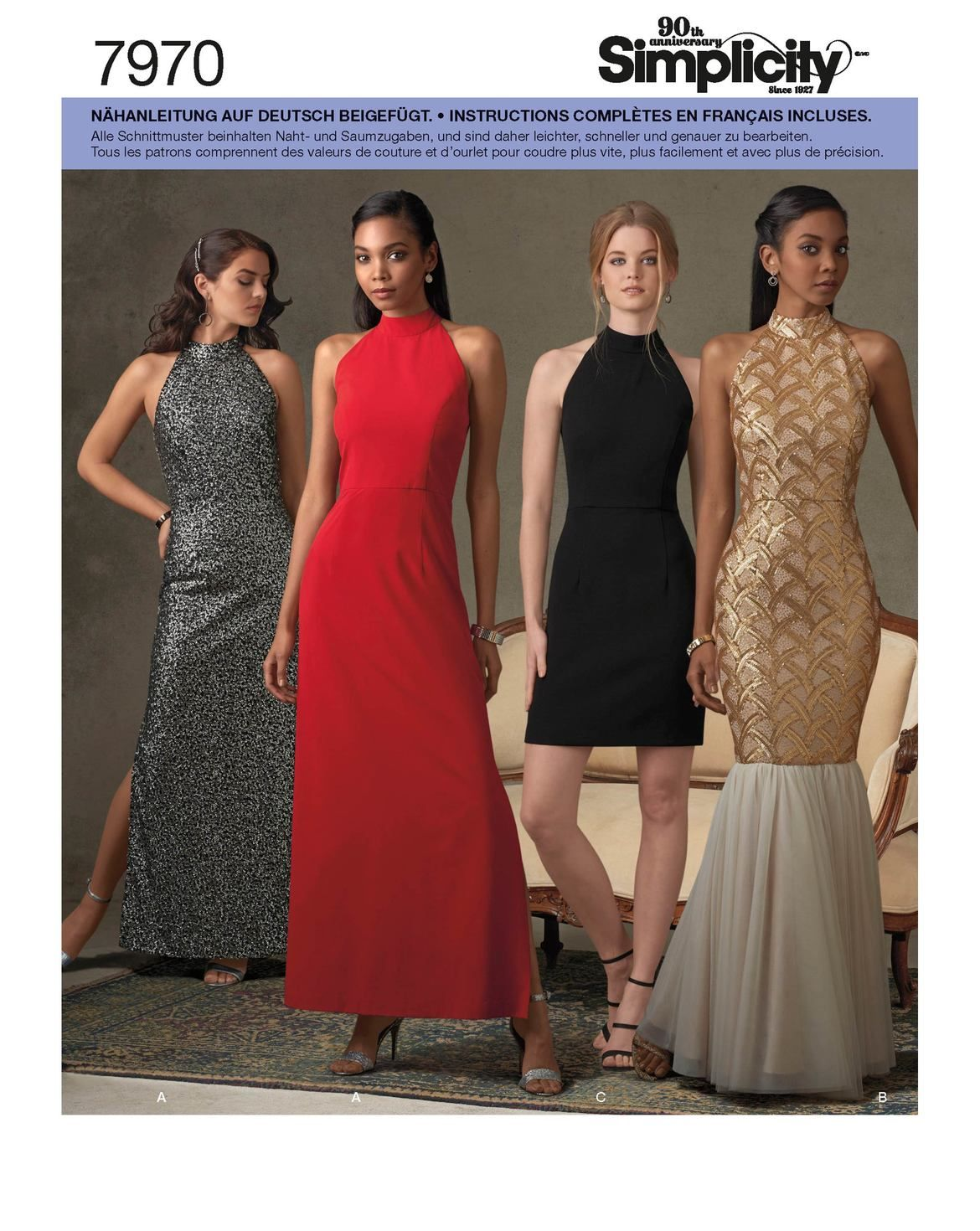 Feminine, festliche Kleider in unterschiedlicher Form. Die