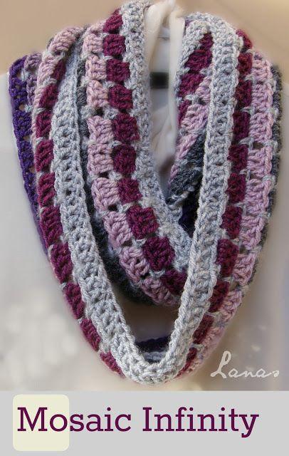 Lanas Hilos: MOSAIC INFINITY. Free crochet pattern. | Crochet ...